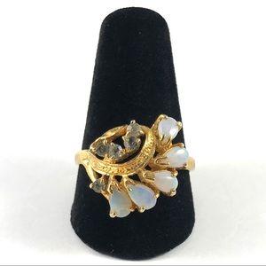 Beautiful Gold Tone Faux Opal Ring Size 8.5